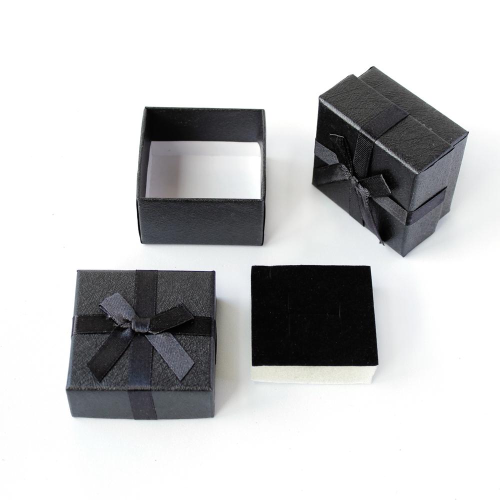 Caixa Rígida com Laço e Berço de Espuma para Joias - Preta - Kit com 2