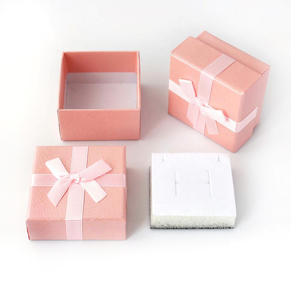 Caixa Rígida com Laço e Berço de Espuma para Joias - Rosa - Kit com 10