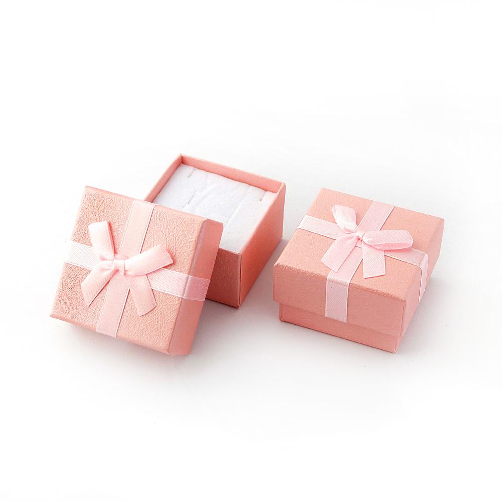 Caixa Rígida com Laço e Berço de Espuma para Joias - Rosa - Kit com 2