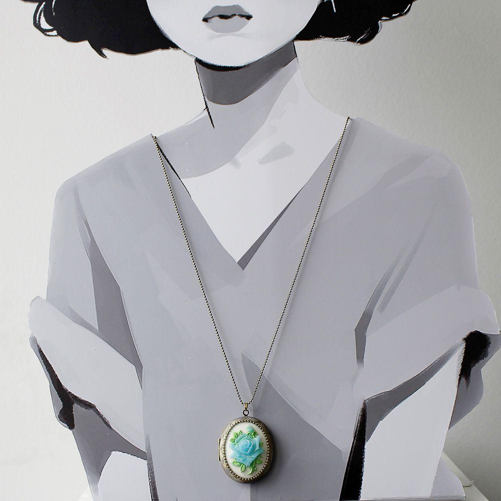 Camafeu Relicário com Rosa Para Duas Fotos Branco e Azul