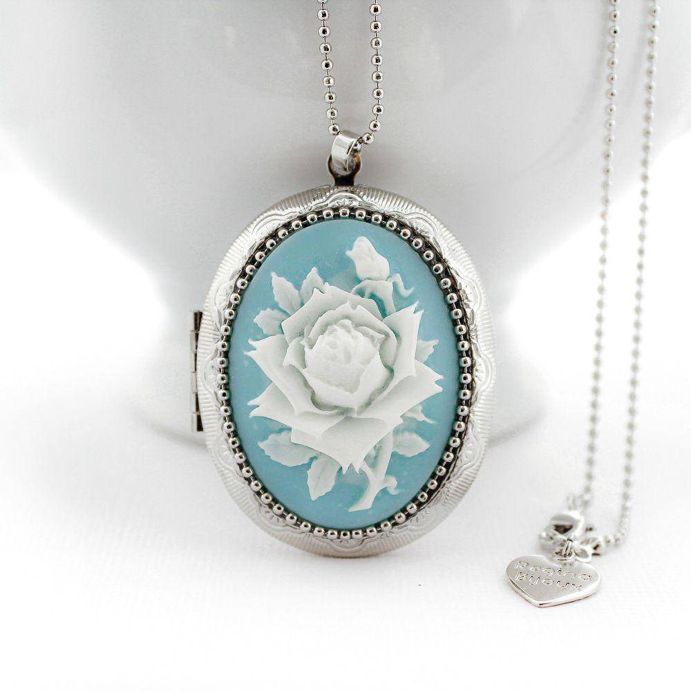 Camafeu Relicário Prata com Rosa Para Duas Fotos Azul Claro
