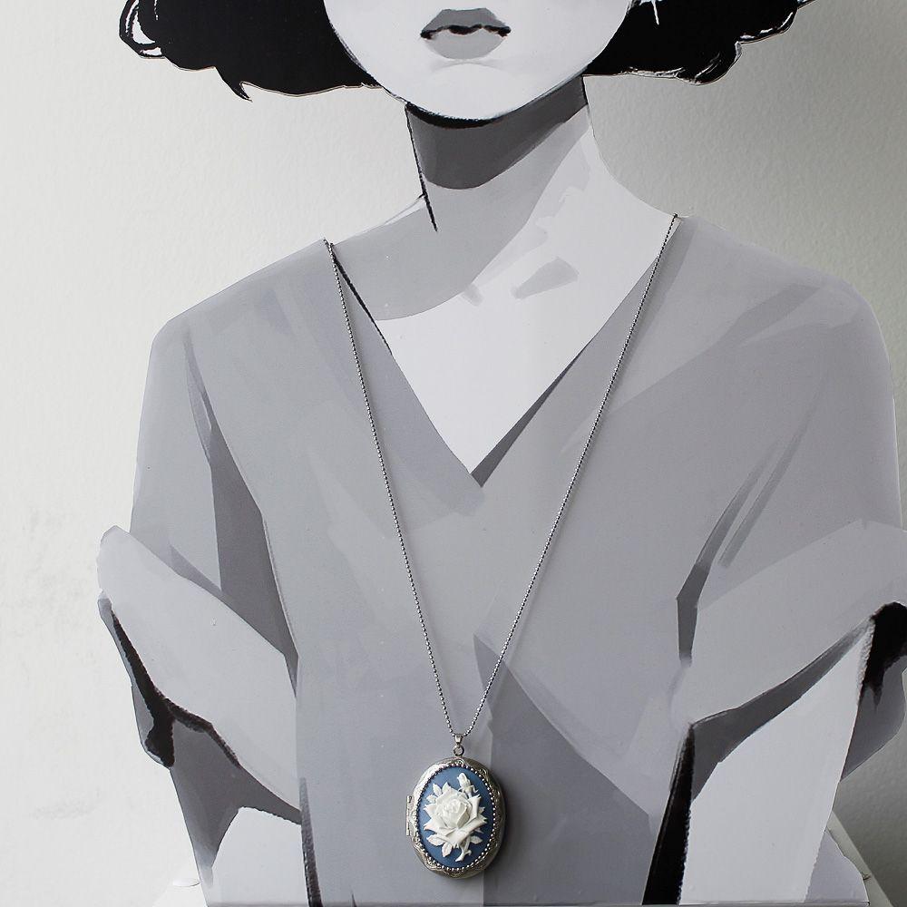 Camafeu Relicário Prata com Rosa Para Duas Fotos Azul Royal