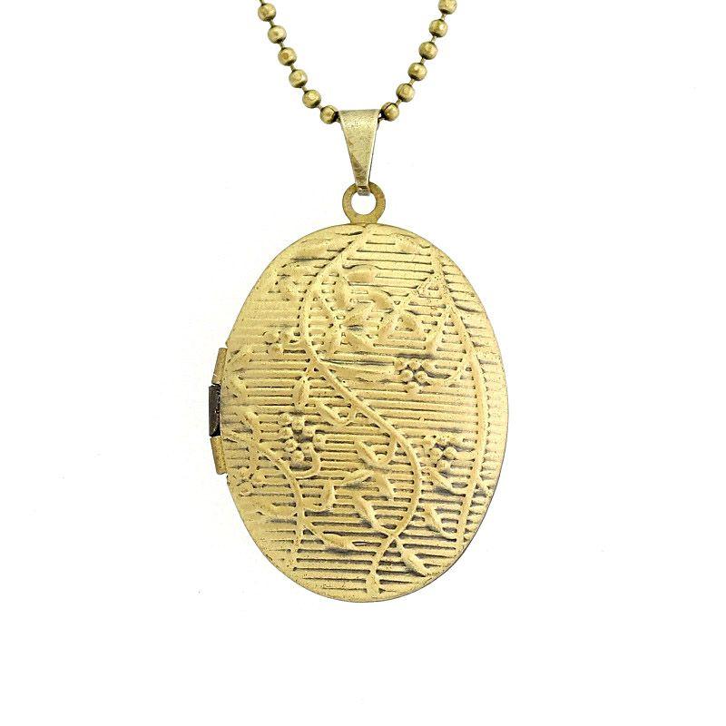 Colar com pingente relicário Alto Relevo Ouro Velho Médio