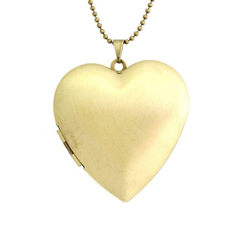 Colar com pingente relicário Coração Liso Grande Ouro Velho