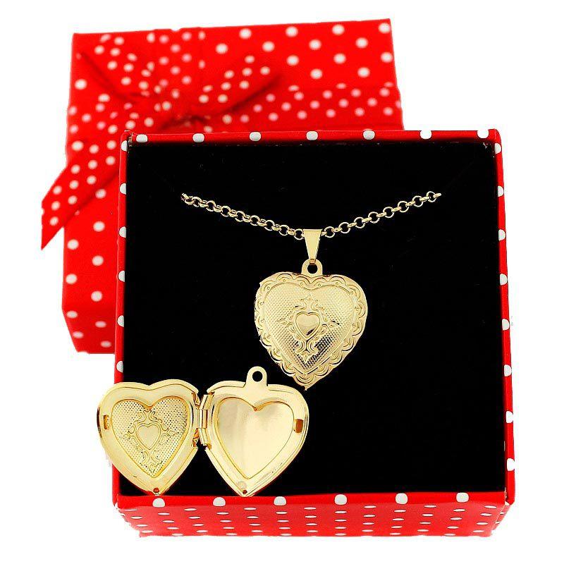 Colar com pingente relicário Coração Pequeno Folheado A Ouro