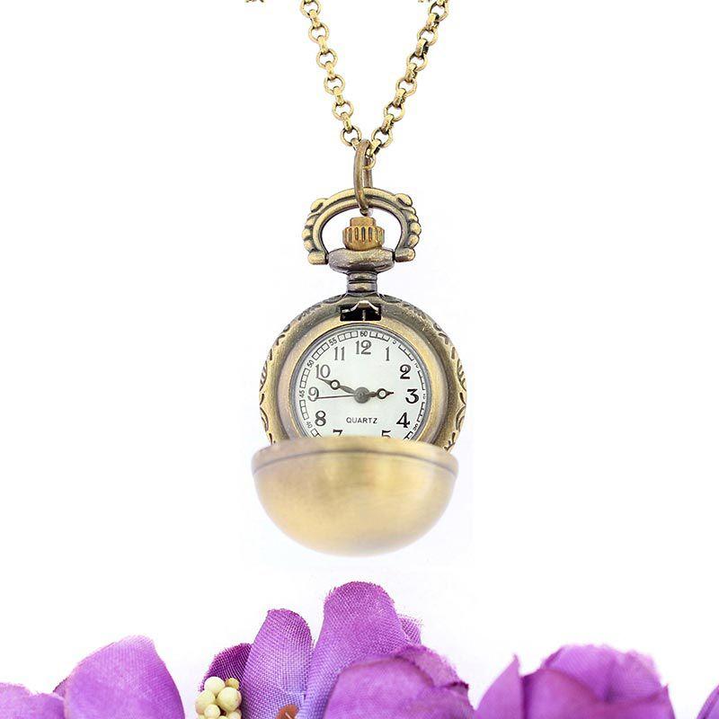 Colar com Relógio Ouro Velho Esfera