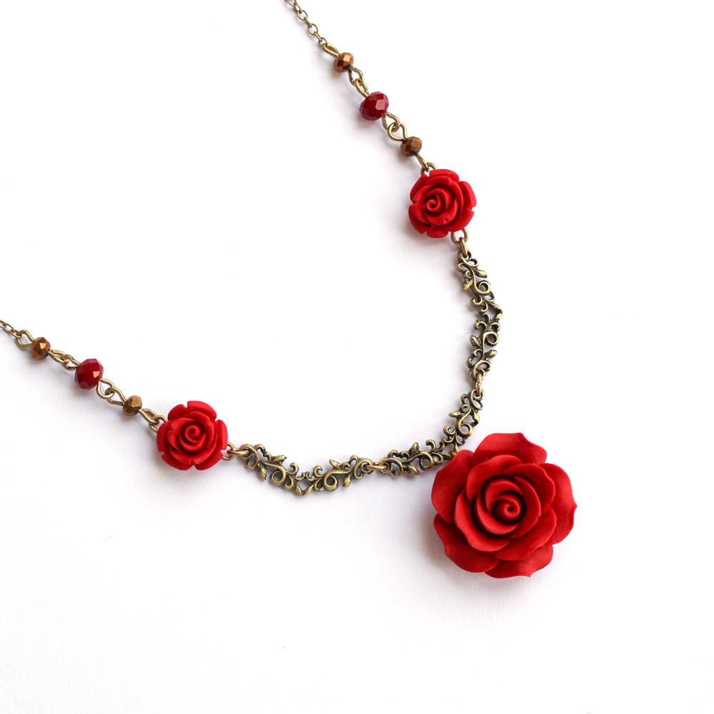Colar com Rosa Vermelha e Cristal para Aromaterapia