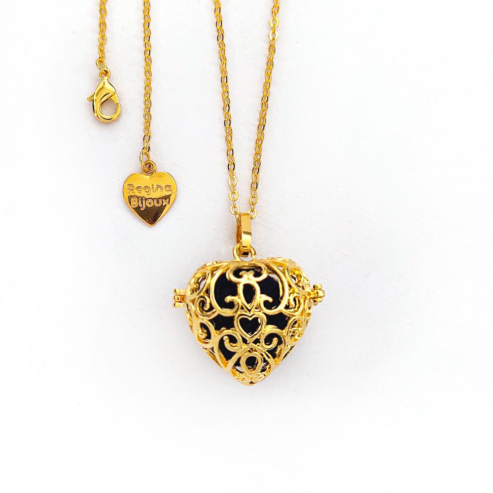Colar Difusor Aromático Relicário Coração para Aromaterapia Dourado