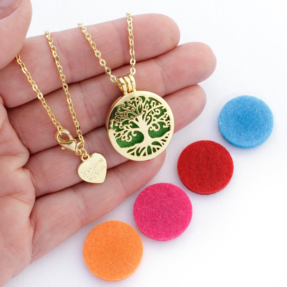 Colar Difusor Árvore da Vida para Aromaterapia Dourado