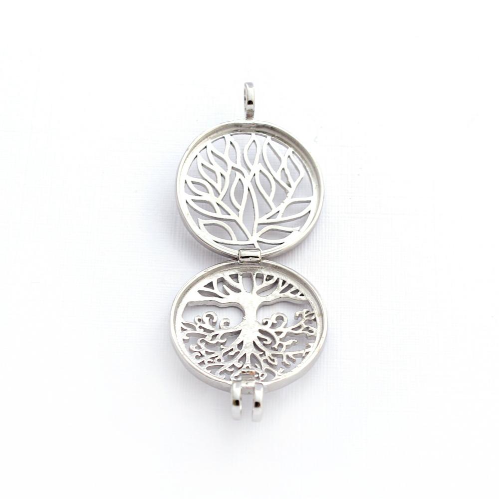 Colar Difusor Árvore da Vida para Aromaterapia Prateado