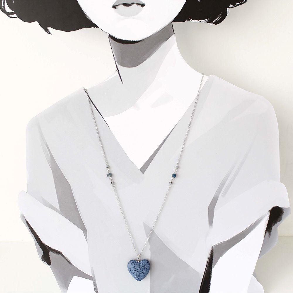Colar Difusor Pessoal com Pedra Vulcânica Prata e Azul