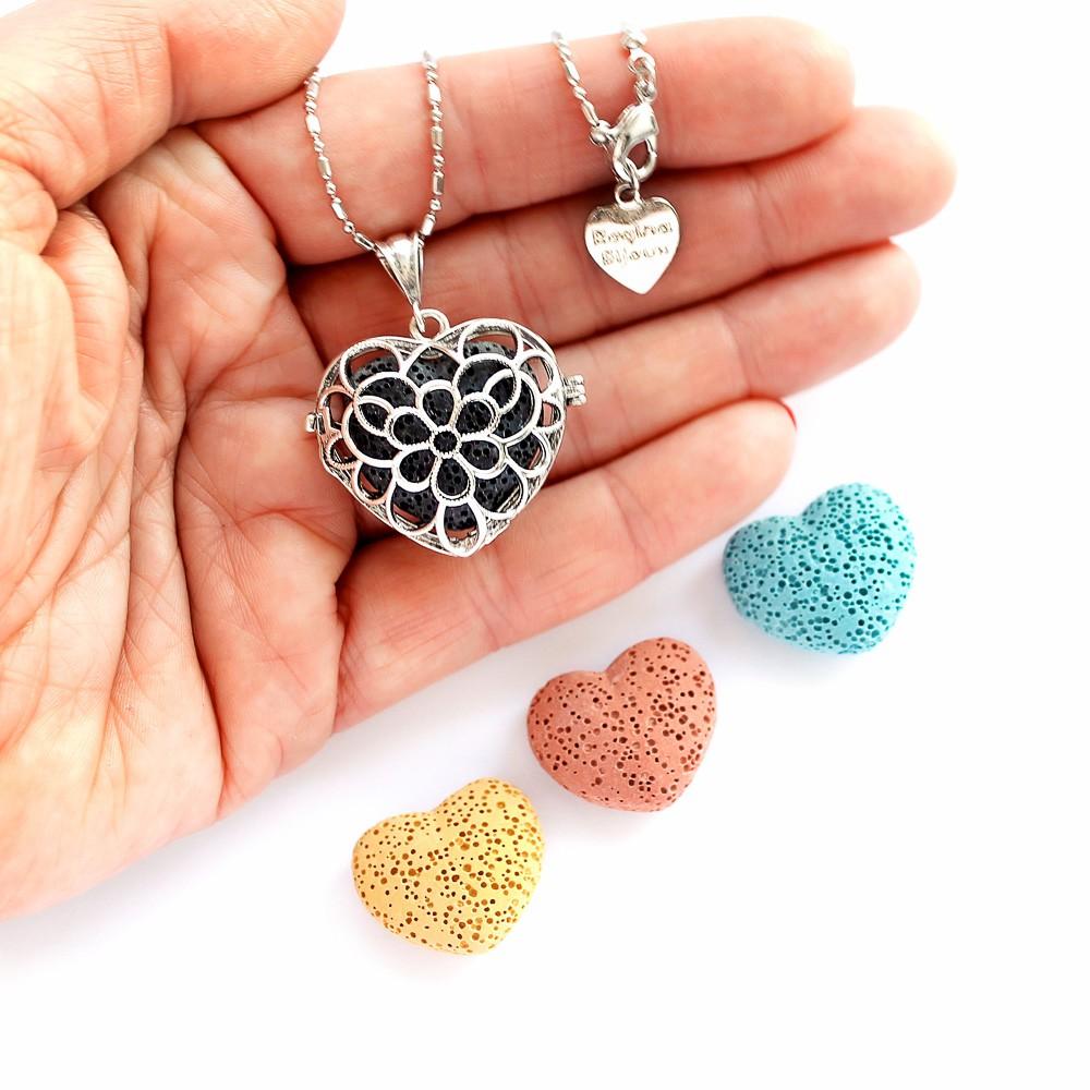 Colar Difusor Pessoal Coração com Pedra Lava