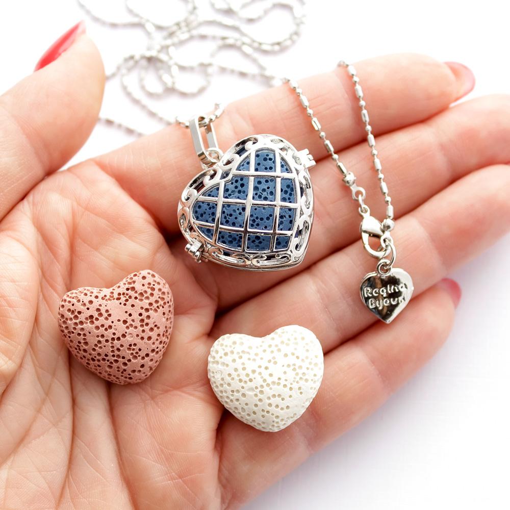 Colar Difusor Pessoal Coração com Pedra Vulcânica