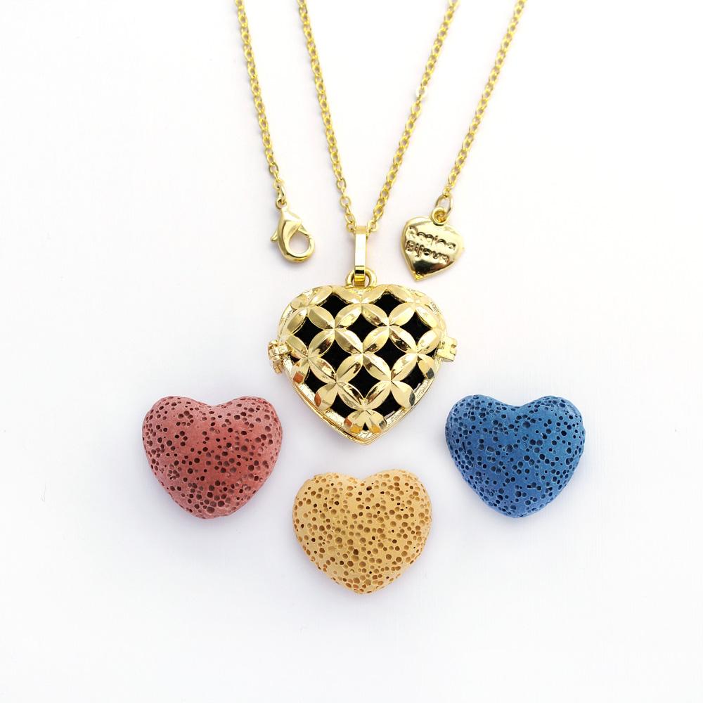 Colar Difusor Pessoal Coração Dourado Para Aromaterapia