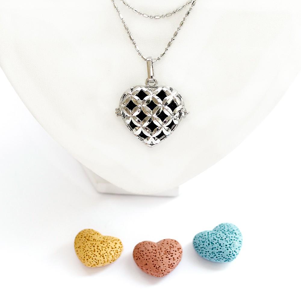 Colar Difusor Pessoal Coração para Aromaterapia com Pedra