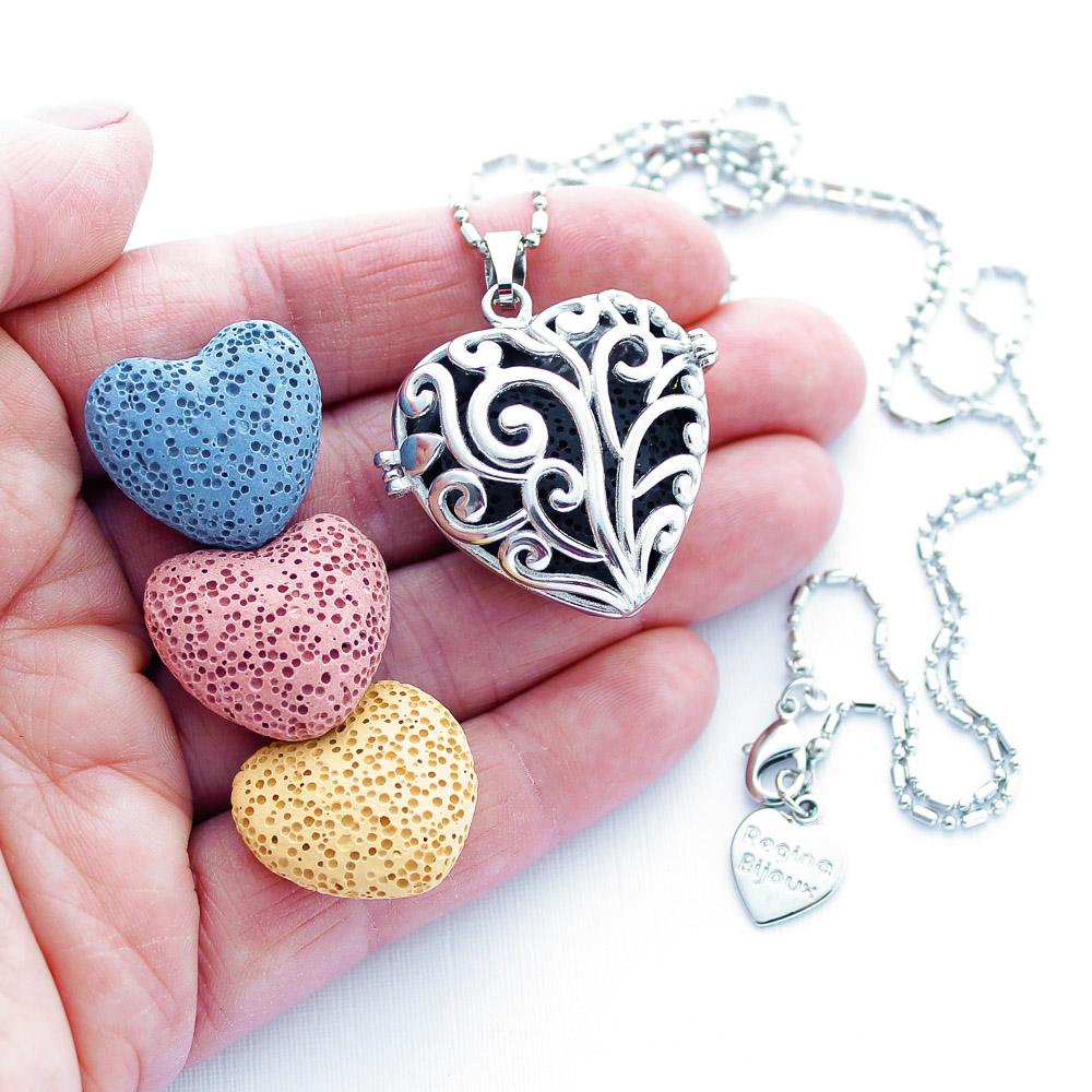 Colar Difusor Pessoal Para Aromaterapia Coração de Pedra Lava