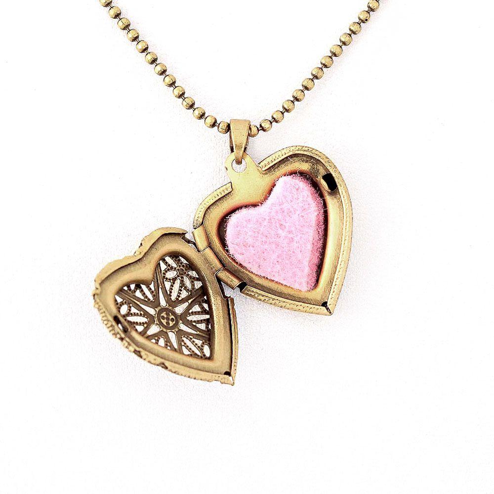 Colar Difusor Relicário Coração Ouro Velho Pequeno