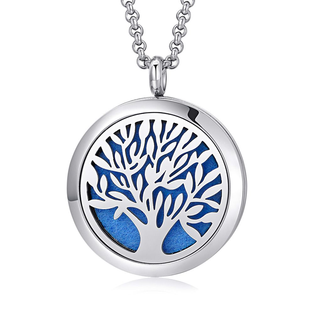 Colar em aço inox para aromaterapia difusor árvore da vida