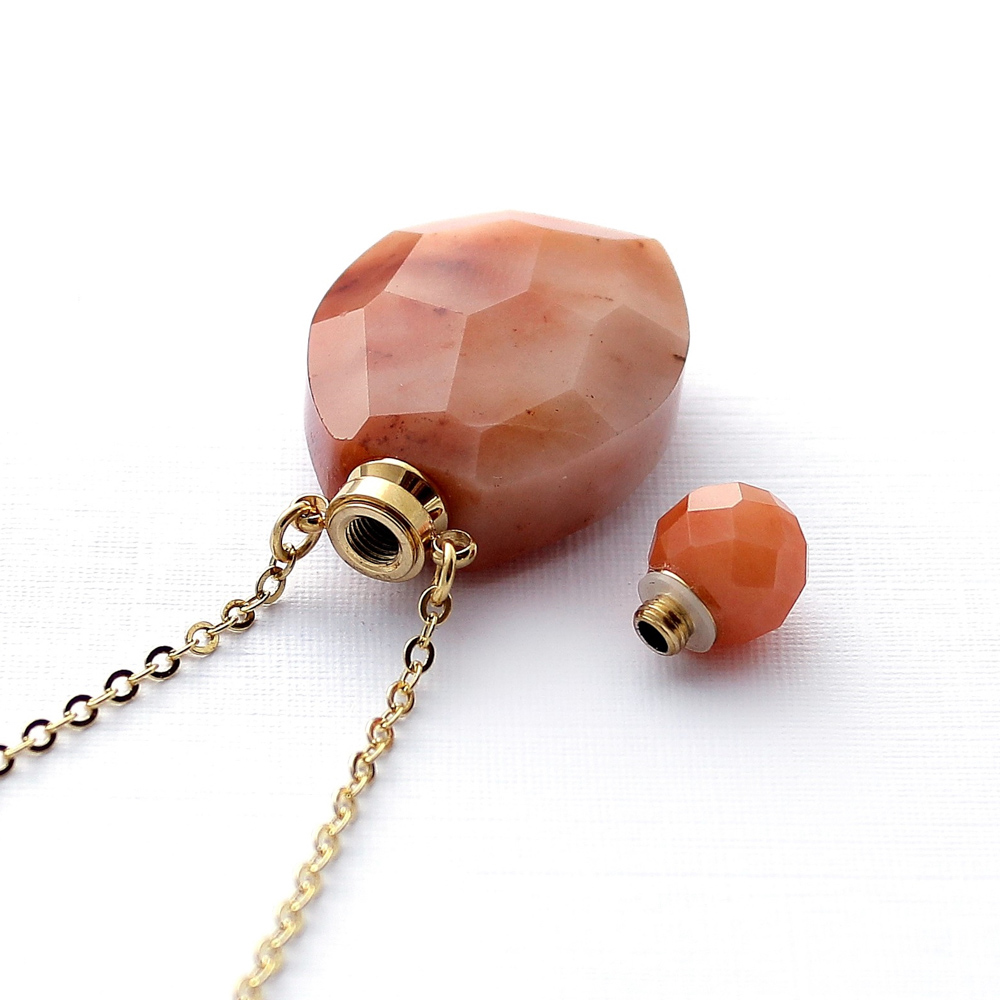 Colar Perfumeiro Difusor Pedra Quartzo Jaspe Médio