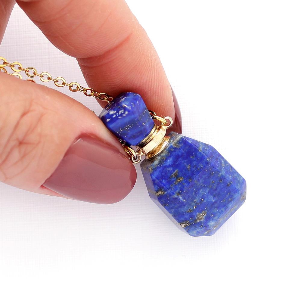 Colar Perfumeiro Difusor Pedra Quartzo Lapis Lazuli Pequeno