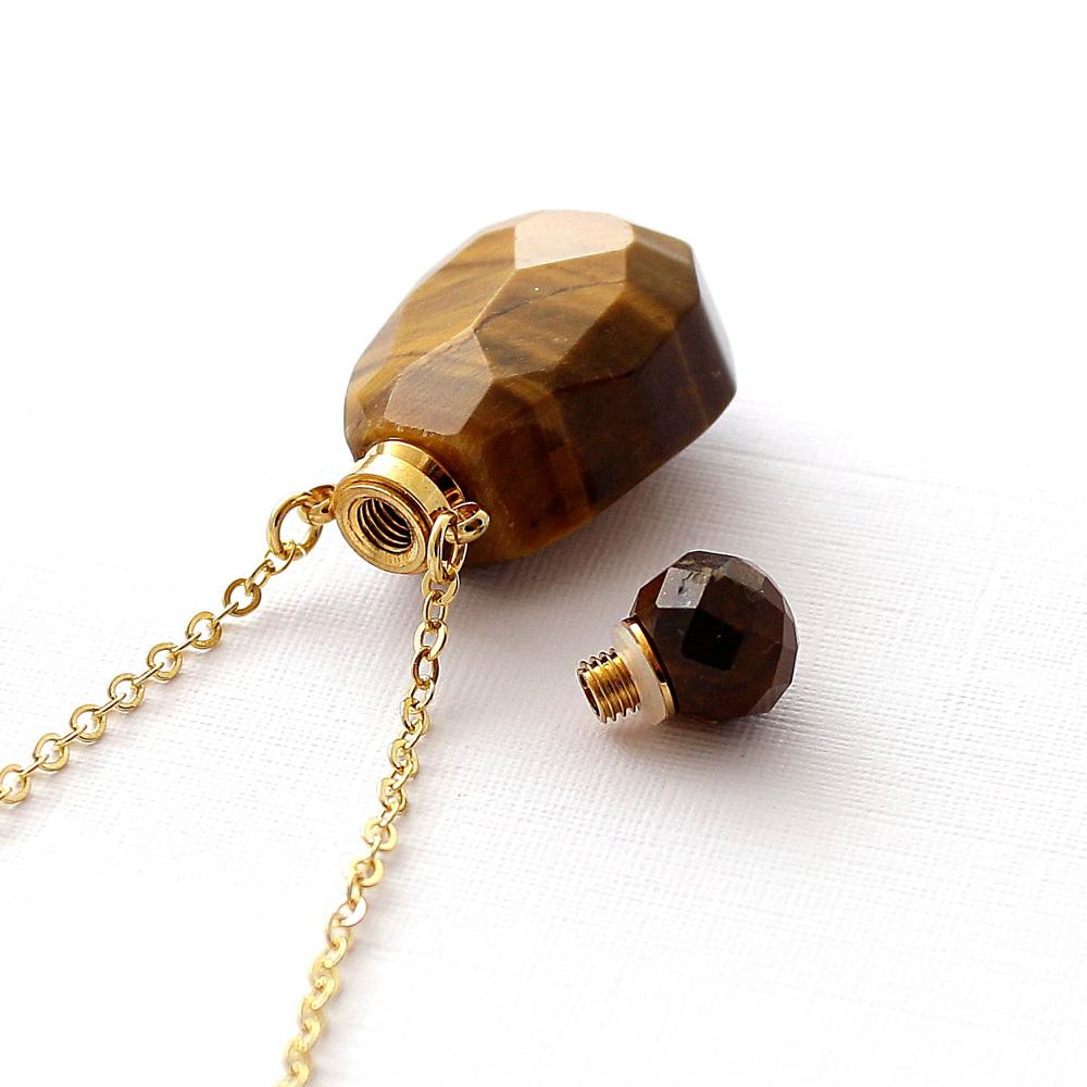 Colar Perfumeiro Difusor Pedra Quartzo Olho de Tigre Pequeno