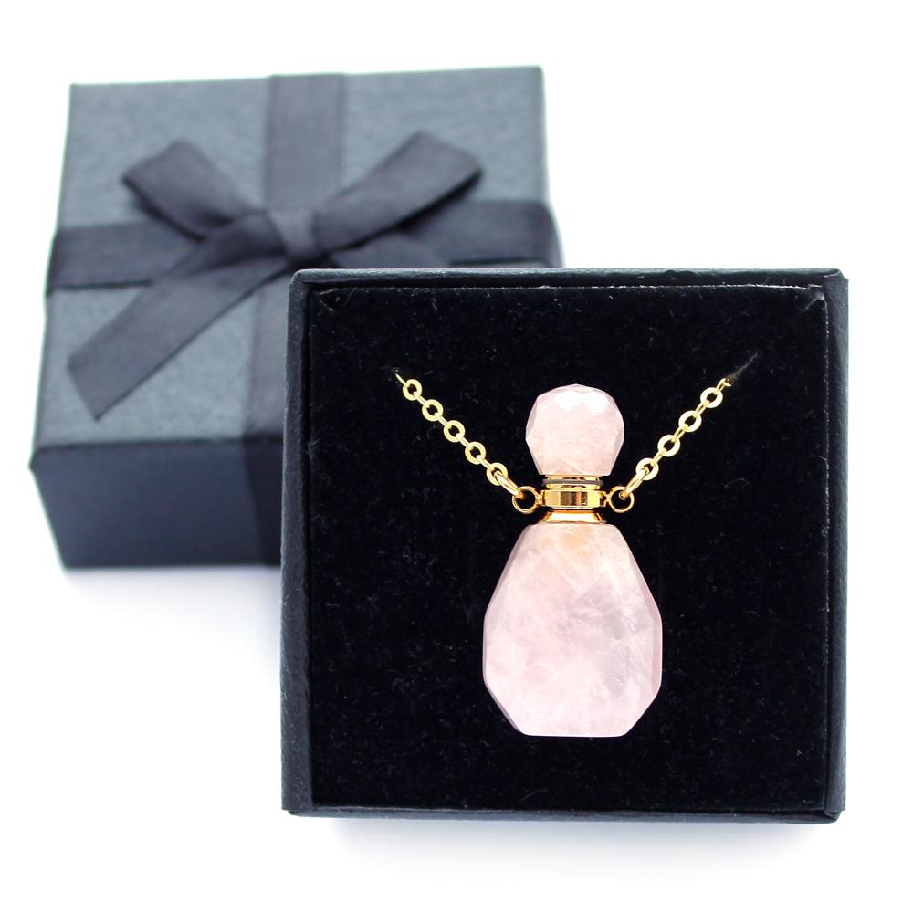 Colar Perfumeiro Difusor Quartzo Rosa Pequeno