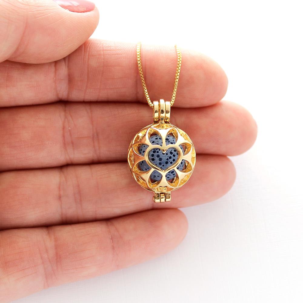 Colar Pingente Difusor Flor Coração Folheado Ouro Pedras