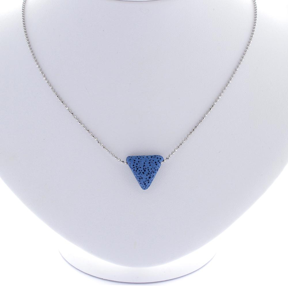Colar Pingente Difusor Pedra Vulcânica Azul Aromaterapia