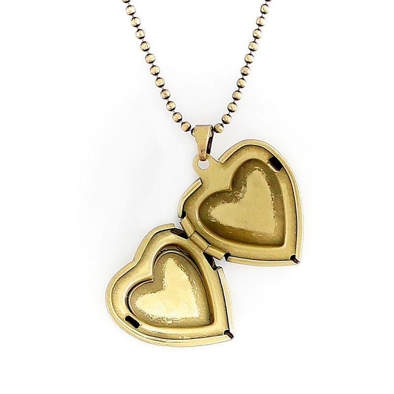 Colar Relicário Coração Arabesco Ouro Velho Pequeno