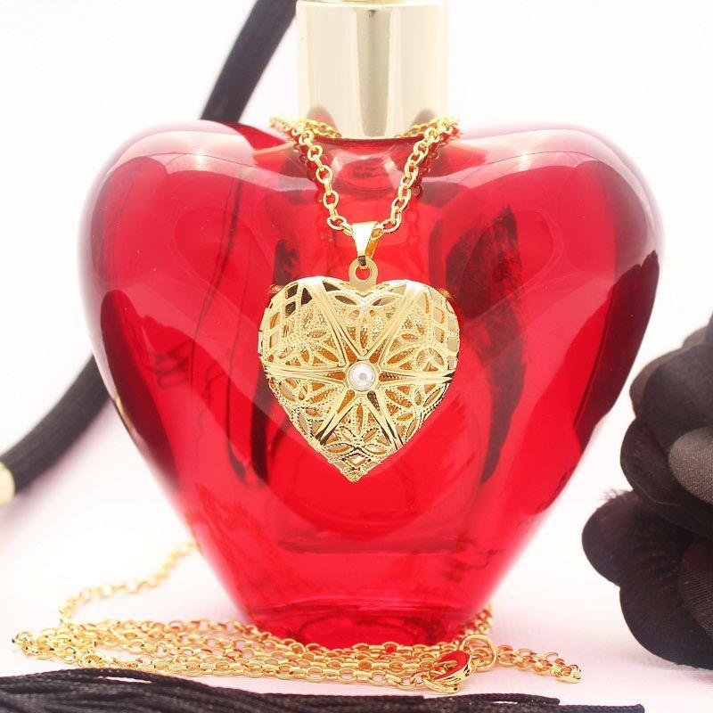 Colar Relicário Coração Folheado A Ouro Médio Vazado
