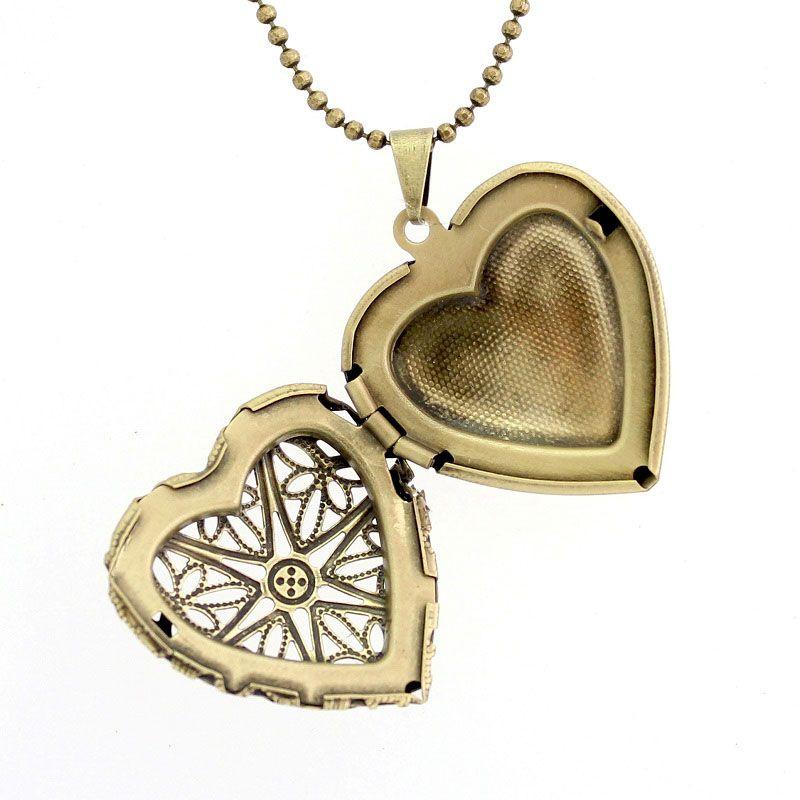 Colar Relicário Coração Ouro Velho Médio Vazado