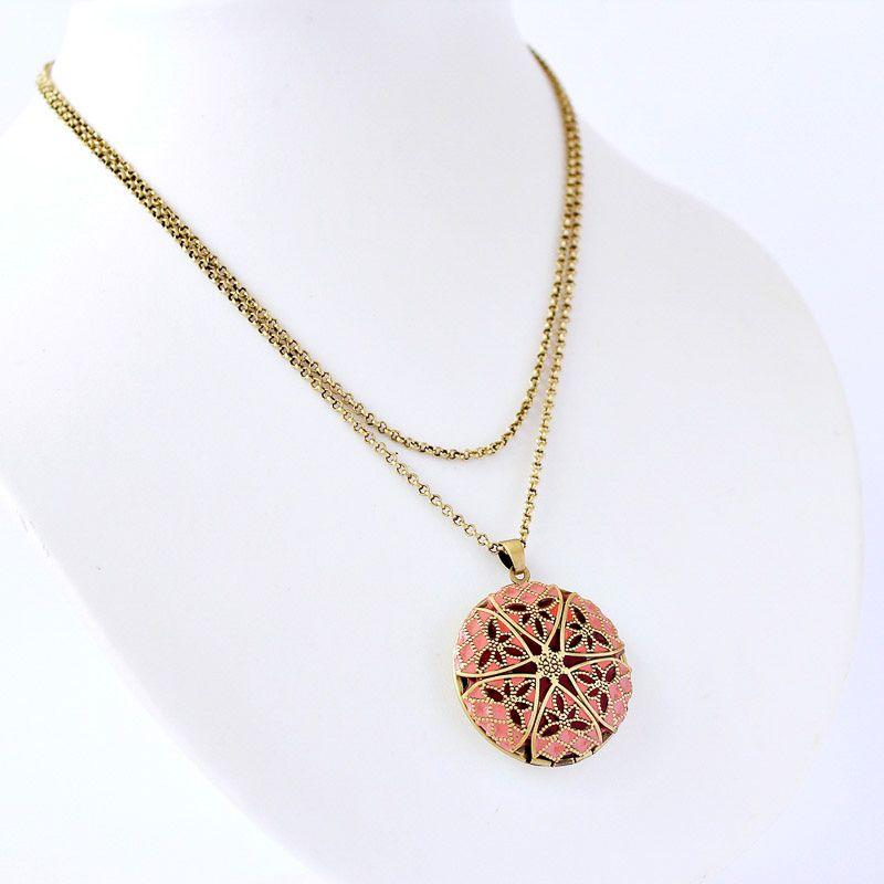 Colar Relicário Esmaltado Ouro Velho Rosa Para Foto
