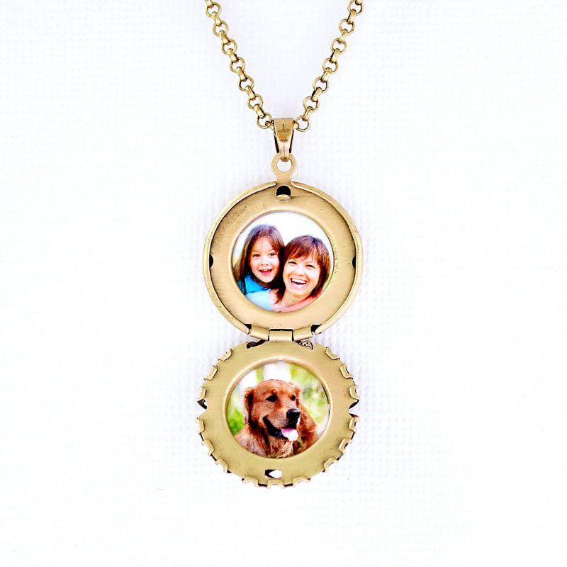 Colar Relicário Esmaltado Pequeno Ouro Velho Multicolor