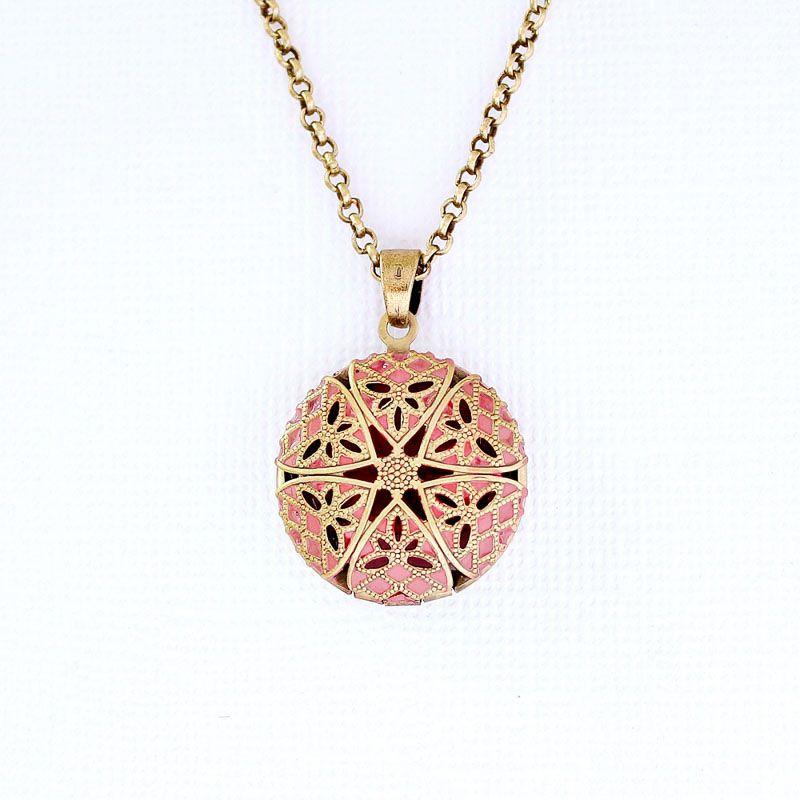 Colar Relicário Esmaltado Pequeno Ouro Velho Rosa