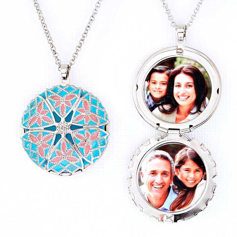 Colar Relicário Esmaltado Prateado Azul e Rosa Para Foto