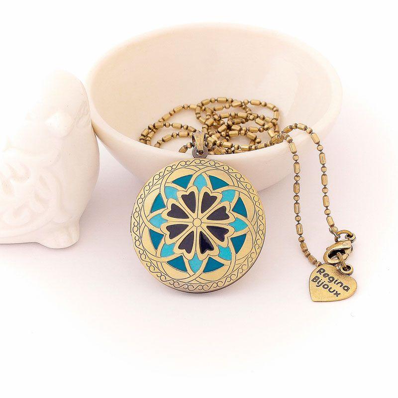 Colar Relicário Flor Esmaltado Ouro Velho Azul