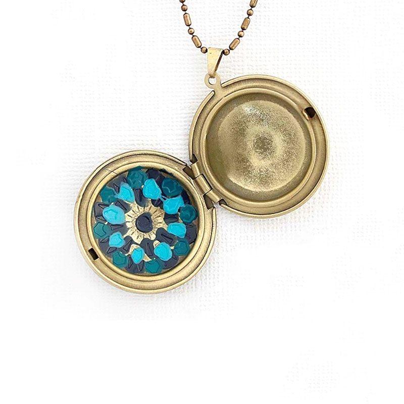 Colar Relicário Mandala Esmaltado Ouro Velho Azul
