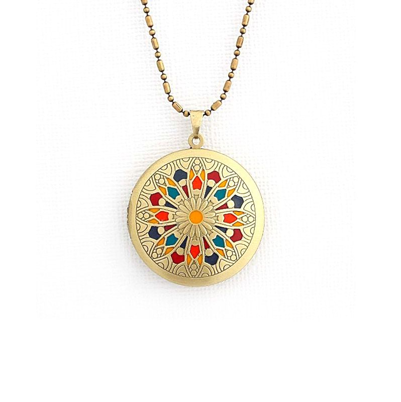 Colar Relicário Mandala Esmaltado Ouro Velho Multicolor