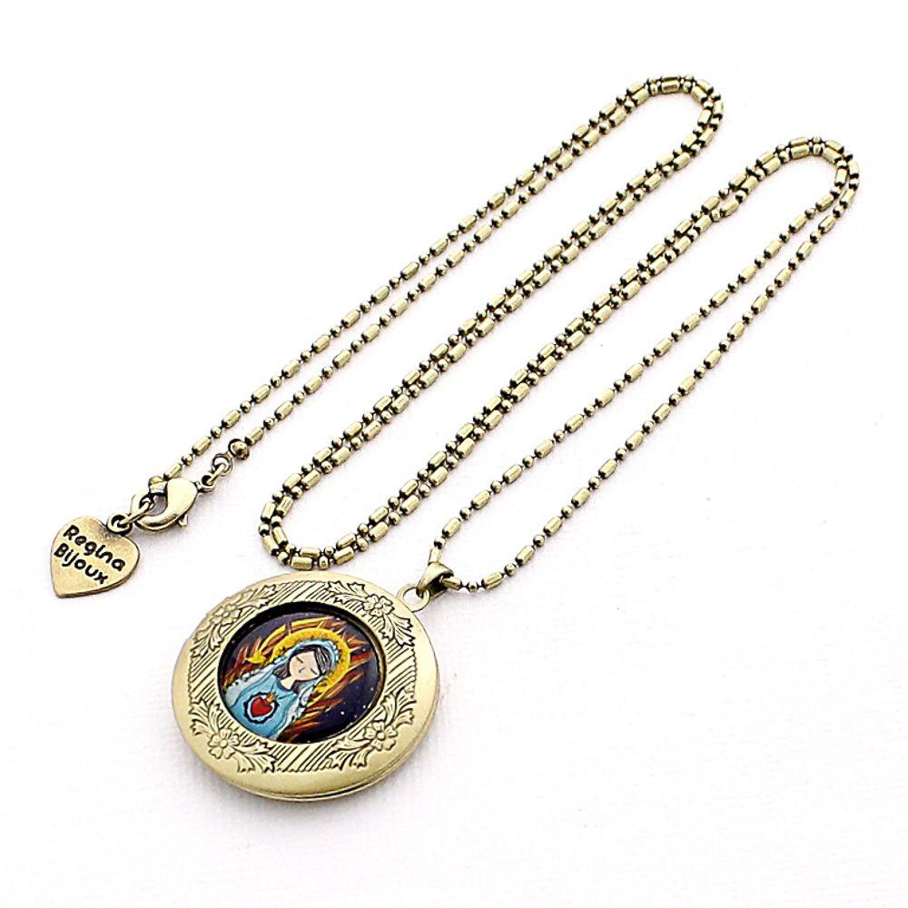 Colar Relicário Sagrado Coração de Maria para Fotos Ouro Velho