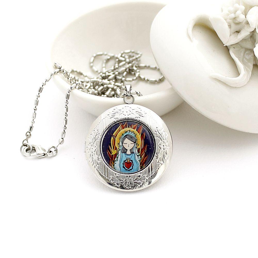 Colar Relicário Sagrado Coração de Maria para Fotos Prateado