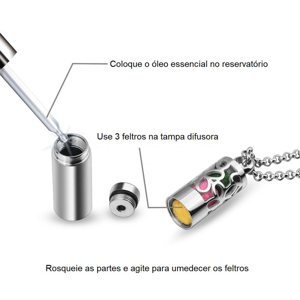 Difusor em aço inox com reservatório para óleo essencial