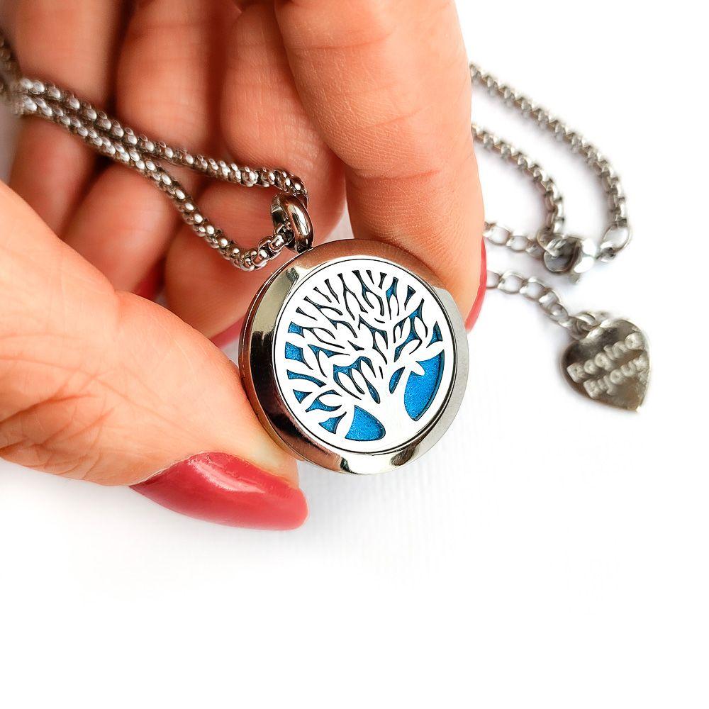 Difusor Pessoal Aço Inox Colar Aromaterapia Pingente Árvore da Vida