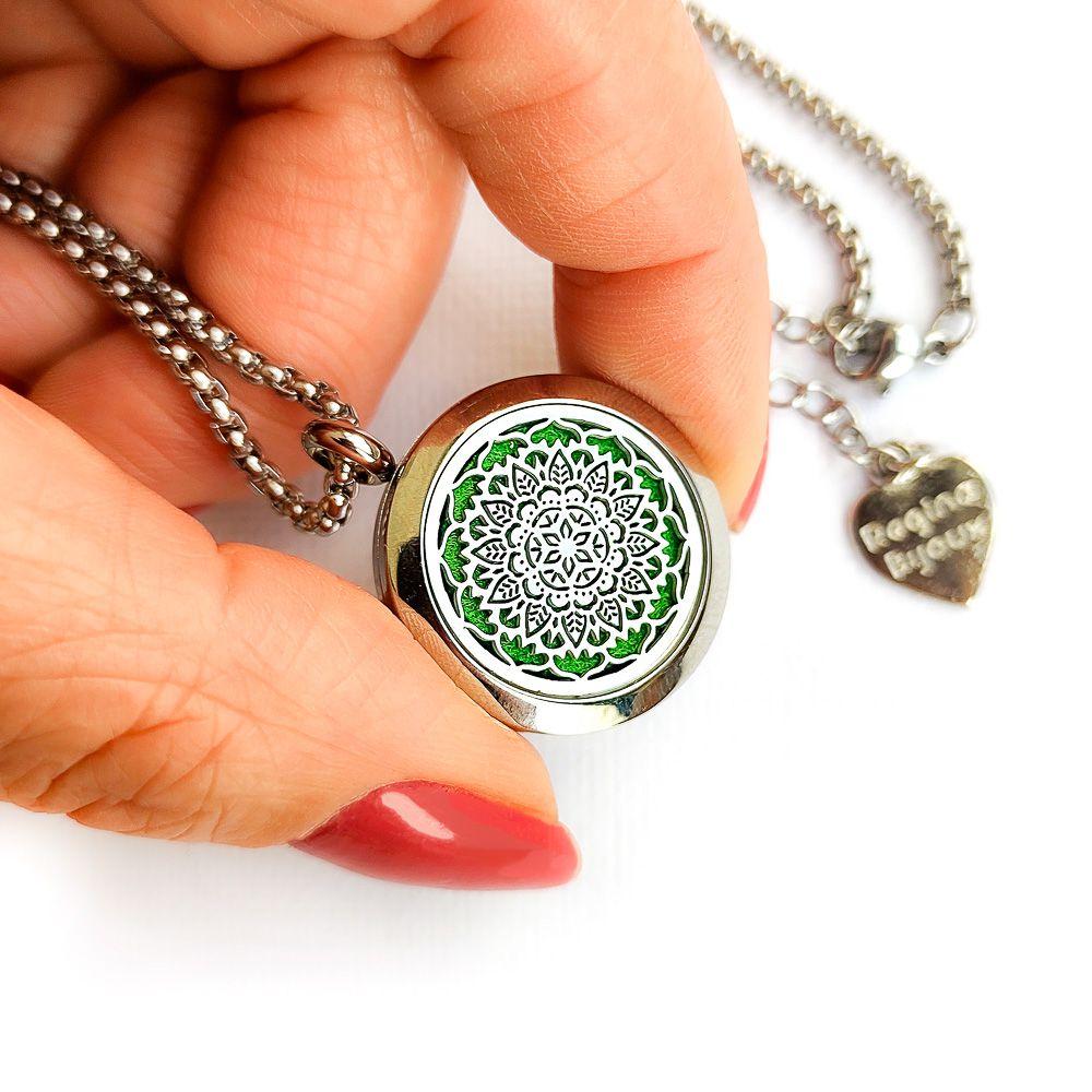 Difusor Pessoal em Aço Inox Colar Aromaterapia Pingente Mandala