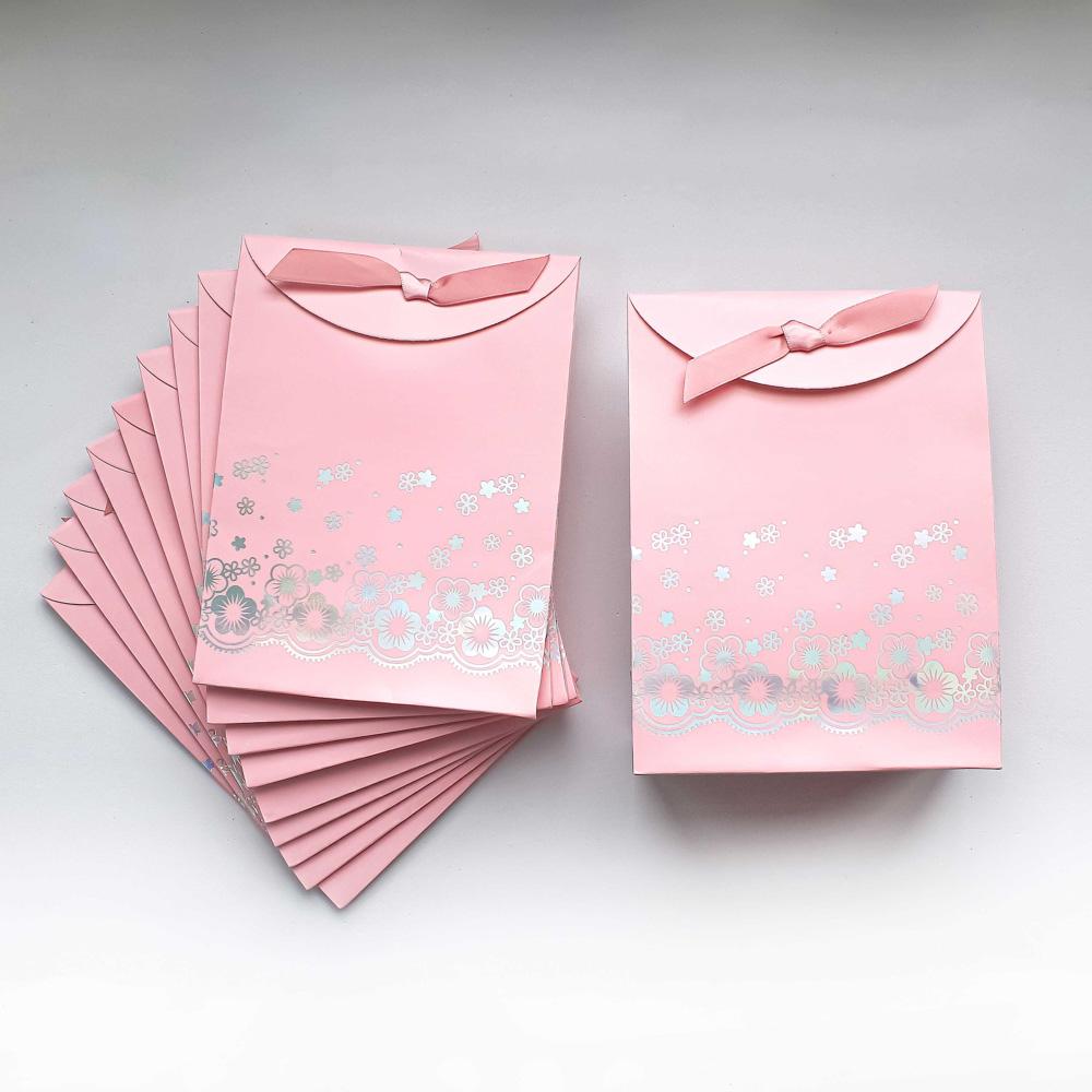 Envelope para Presente Cor de Rosa com Fita e Velcro - kit com 10