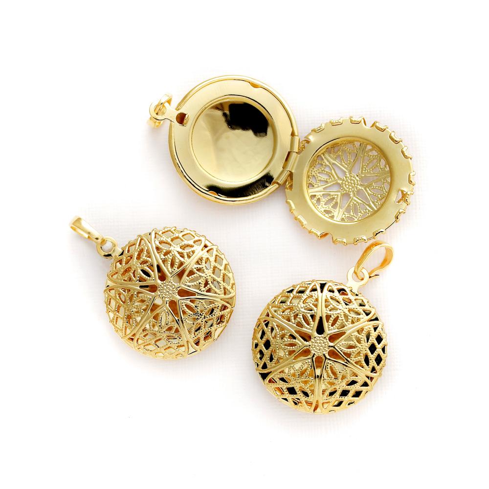 Kit 3 Pingentes difusor modelo redondo pequeno dourado