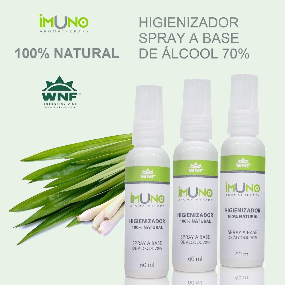 Kit Imuno WNF Higienizador a Base de Álcool 70°GL - 3 unidades - 60ml