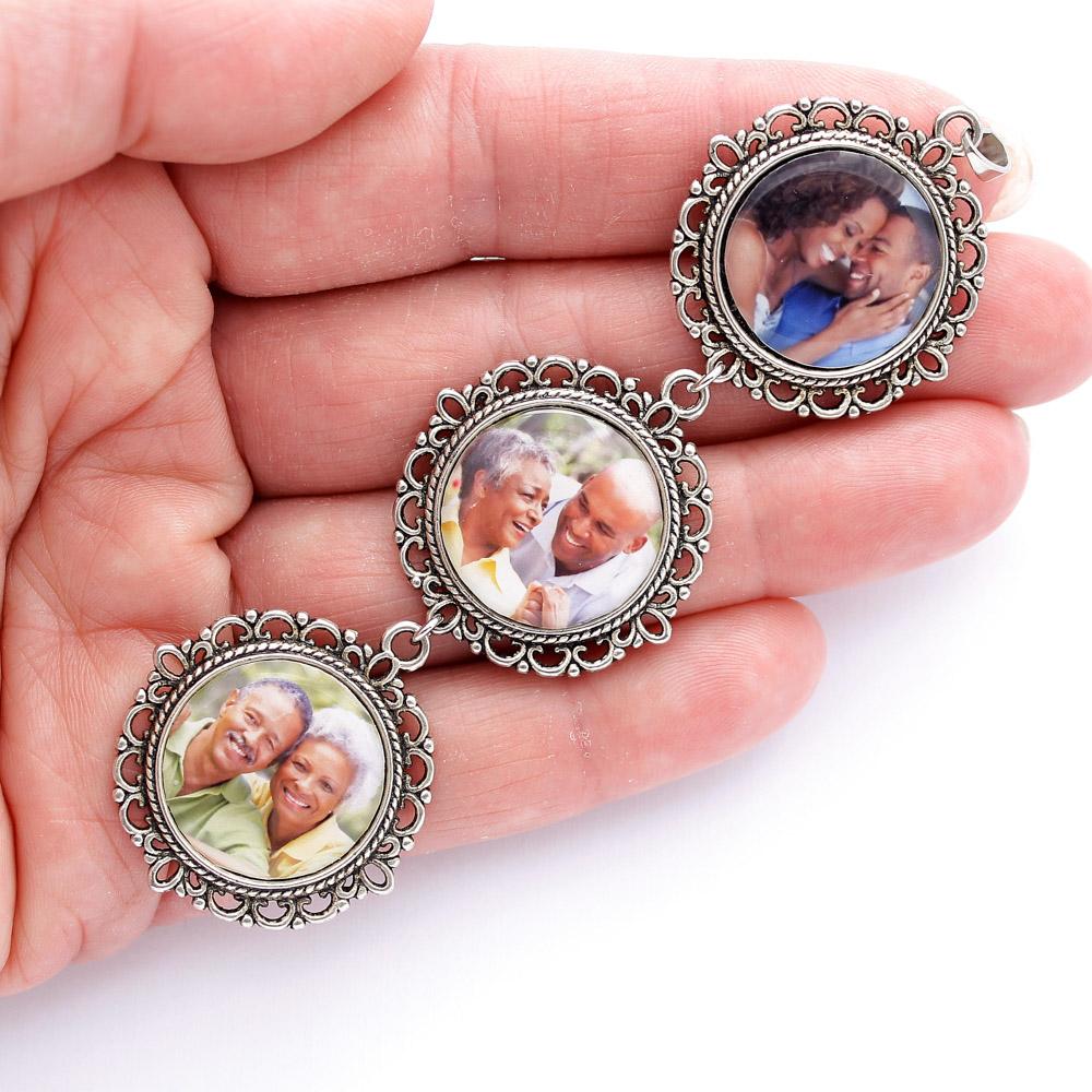 Kit Pingentes com 3 fotos Casamento Noivo e Noiva Prateado