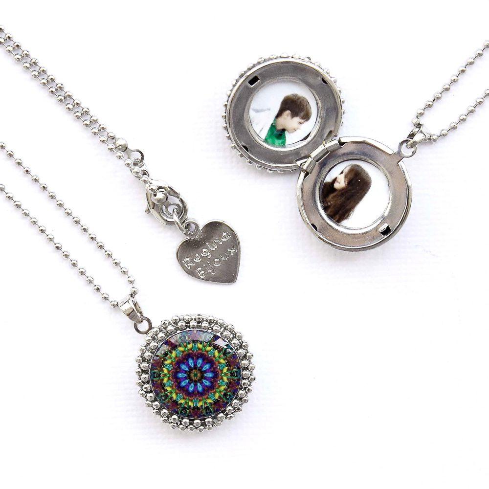 Mandala relicário pequeno cor roxa e prata