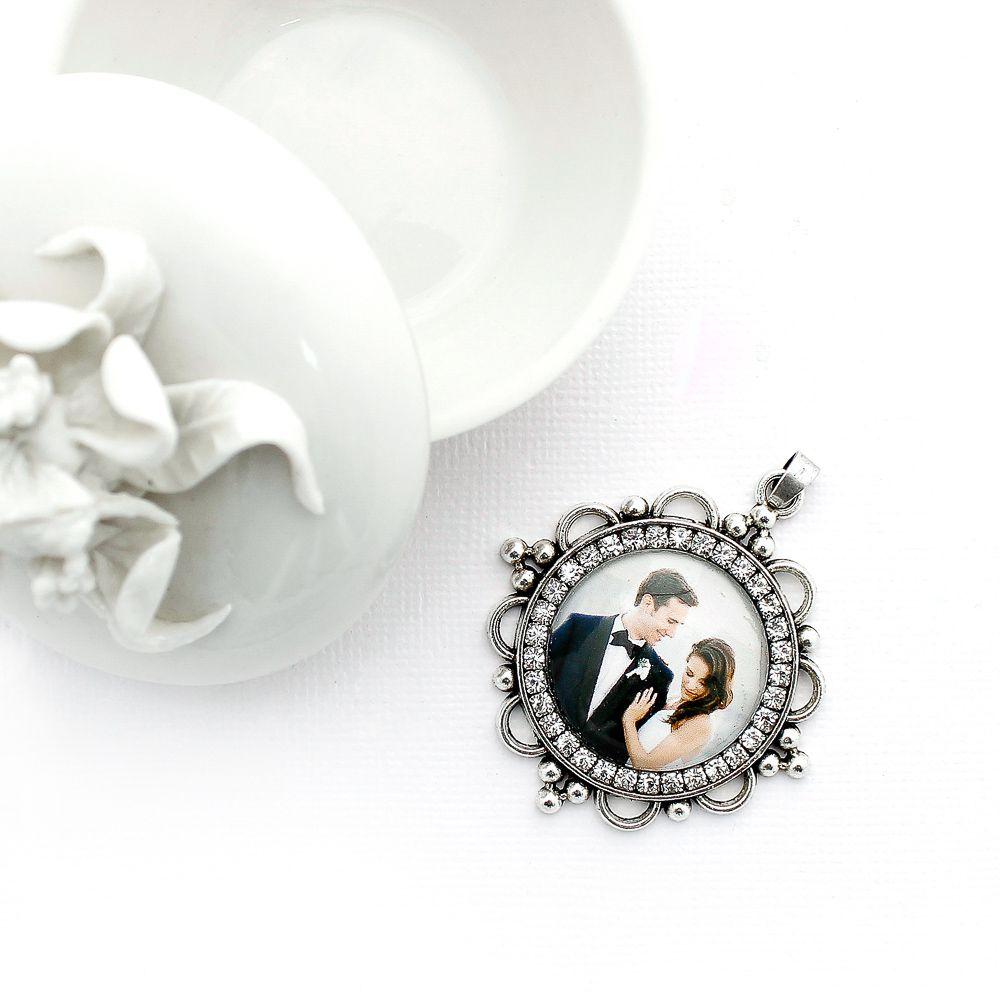 Pingente Para Buquê de Noiva Prata Com Strass e Foto