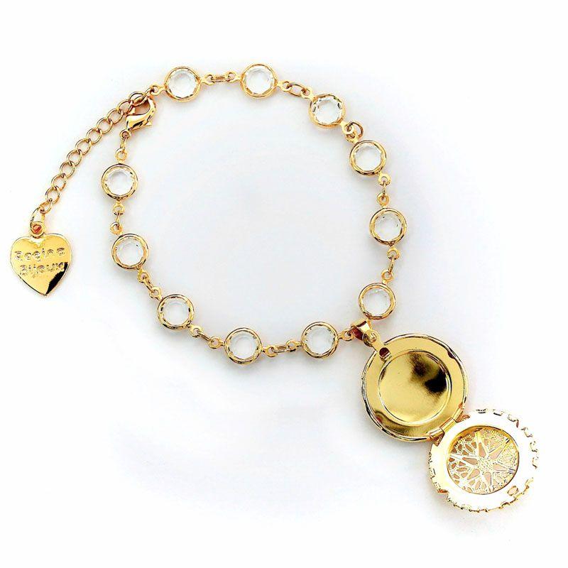 Pulseira Corrente Cristal e Pingente Relicário Folheada a Ouro